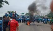 Aksi Buruh Serang Akan Ke Jakarta Terhadang Aparat Kepolisian Di Perbatasan Serang Tangerang